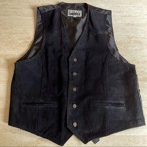 Vintage 1990s men's black leather vest size Large